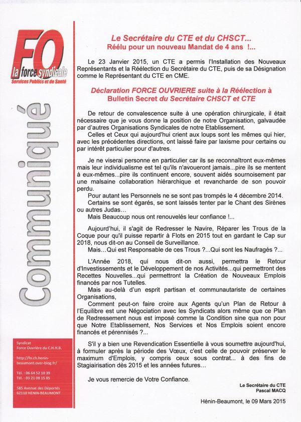 Communiqué FO suite Instances de Janvier 2015 1