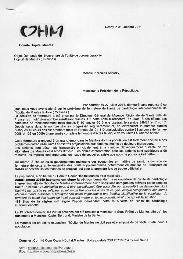 Courrier SarkozyRecto