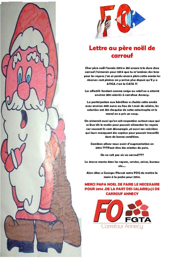 Lettre au p-re noel de carrefour 2013
