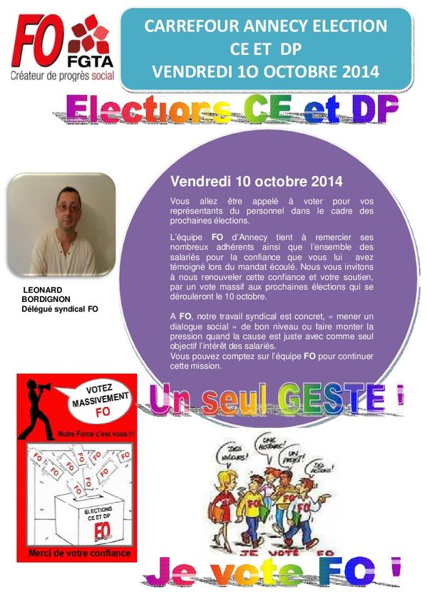 Tract tableau affichage FO CARREFOUR ANNECY ELECTION 001
