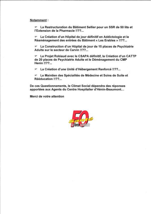 Declaration FO au Directeur ARS 2