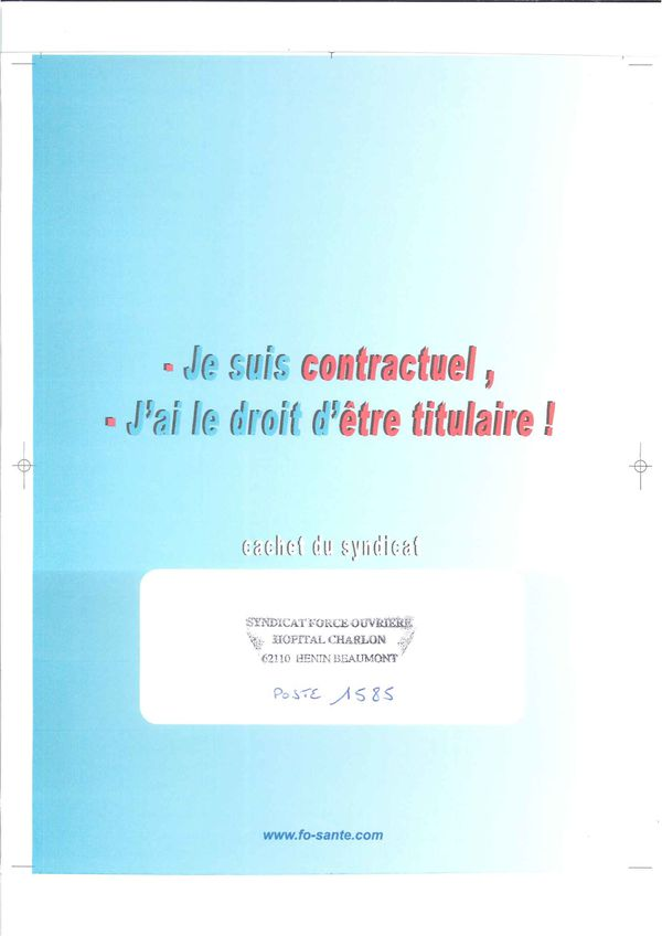 Stagiairisation 2011 des Contractuels 2