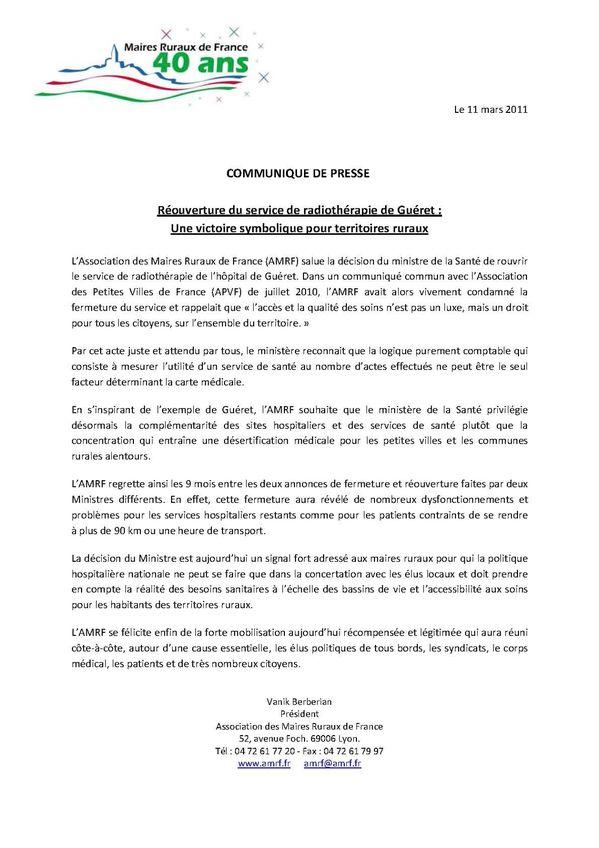 La radiothérapie maintenue à Guéret 11 03 2011