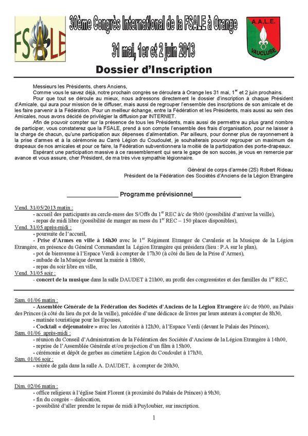1 Dossier Inscription congres FSALE 2013