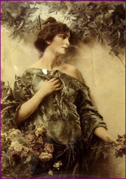 kiesel jeune femme avec une corbeille de fleurs