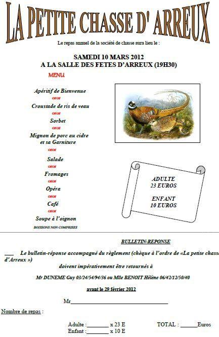 repas chasse 2012