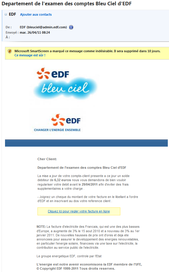 phishing visant les clients d 39 edf bleu ciel le blog de b d. Black Bedroom Furniture Sets. Home Design Ideas