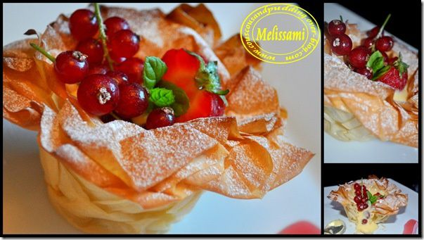 strawberry and redcurrant filo tartlets