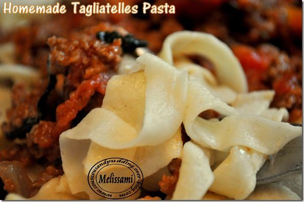 homemade tagliatelle pasta