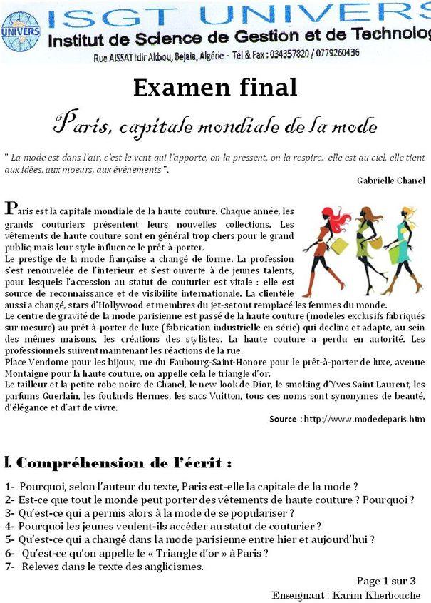 Institut Univers Examen