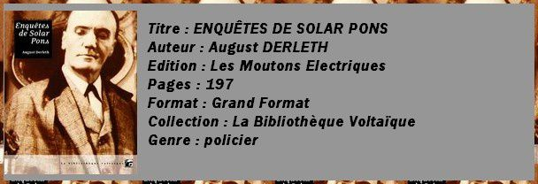 enqu&#xEA;tes de Solar Pons