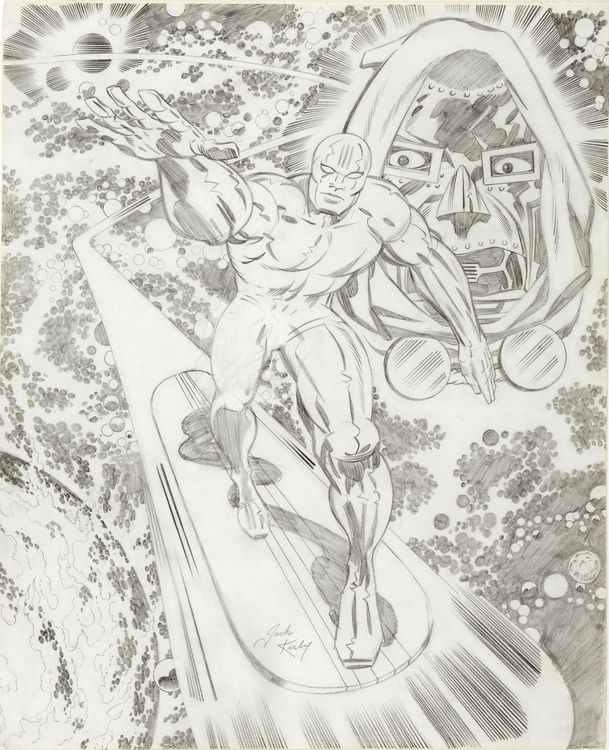Silver Surfer and Doctor Doom Large Pencil Sketch Original