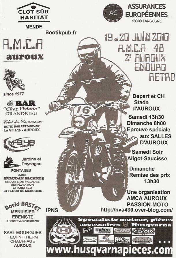 Affiche officielle AUROUX ENDURO RETRO 2010