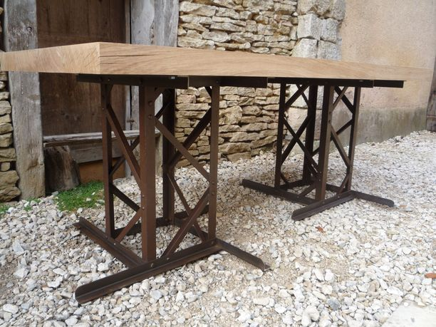 Grande table pieds rivetes eiffel 1920 plateau ch ne - Pied de table original ...