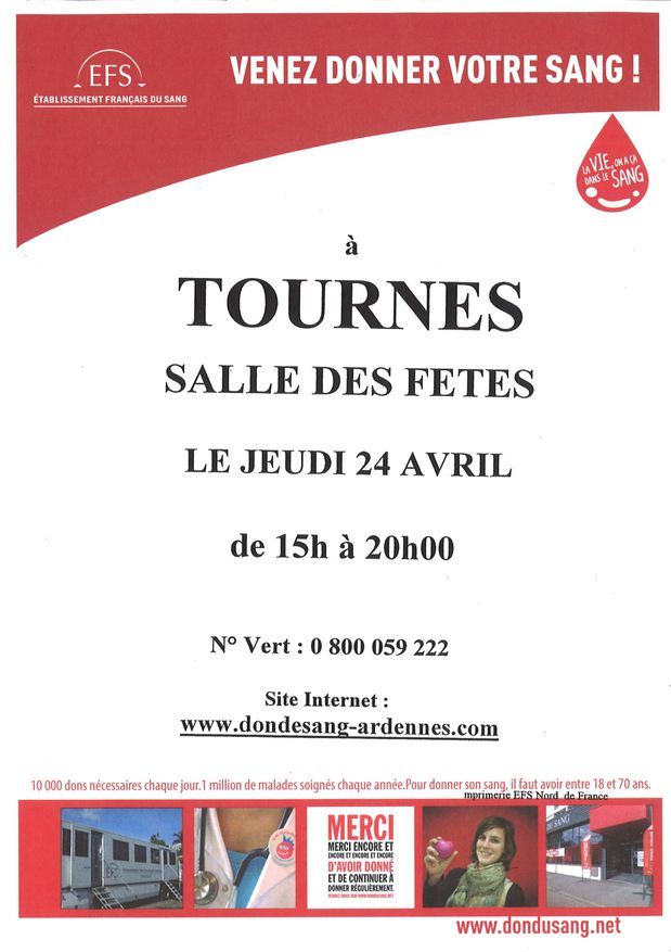 Don du sang Tournes 24-04-14