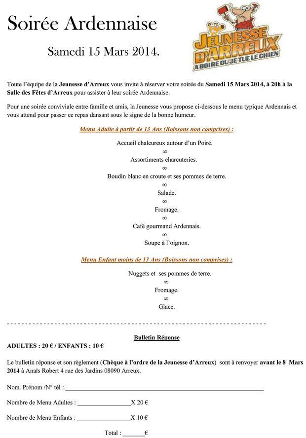 Soirée Ardennaise menu imprimable