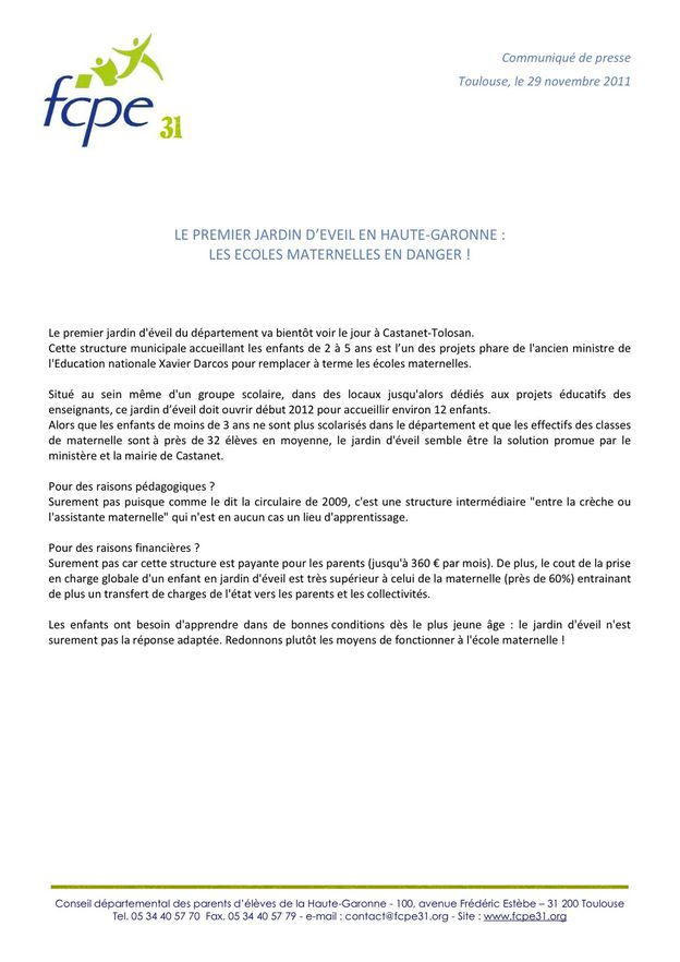 Cole maternelle en danger jardin d 39 veil en haute garonne le blog de fcpe de l 39 cole - Cours de cuisine haute garonne ...
