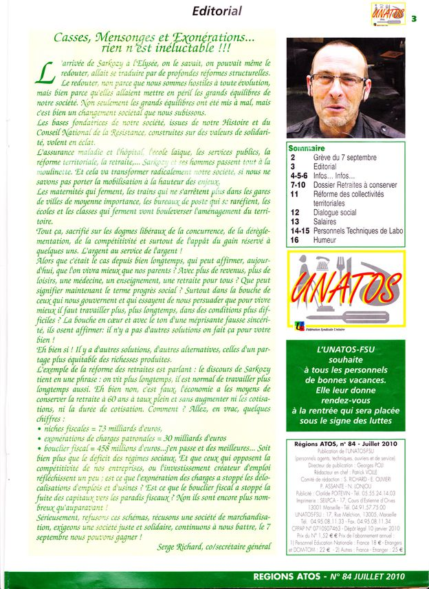 Régions Atoss 84 Edto, Sommaire.