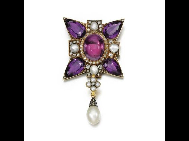 Amethyst, pearl and diamond pendant, 19th century.