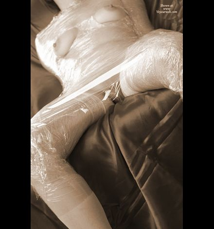 bf nb naked girl wrapped in plastic foil