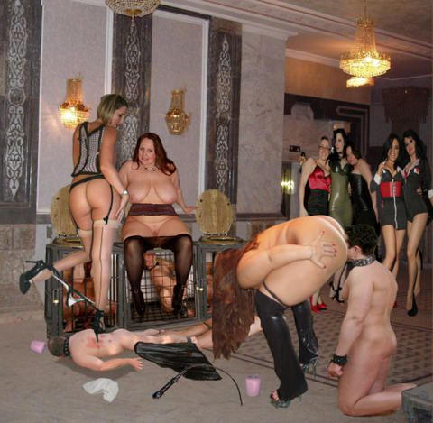 Femdom and paty and men are slaves