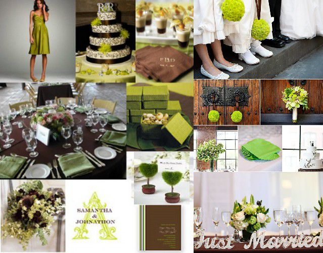 D co de mariage chocolat vert anis mariage id es for Article decoration mariage