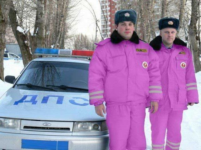 Police in pink