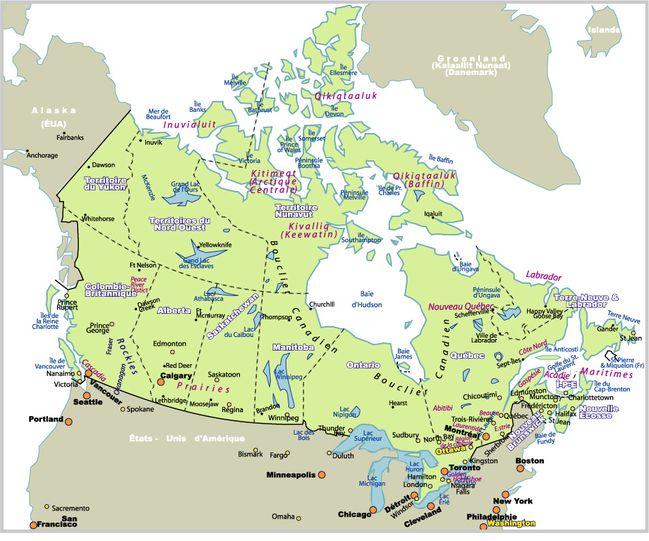 Carte Canada Avec Sites Naturel Villes Et Provinces