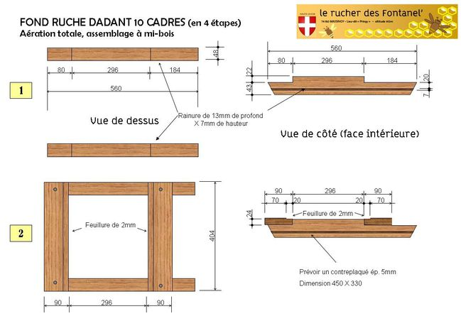 fabrication et plan de ruche dadant 10 cadres le blog de rucher fontanel. Black Bedroom Furniture Sets. Home Design Ideas