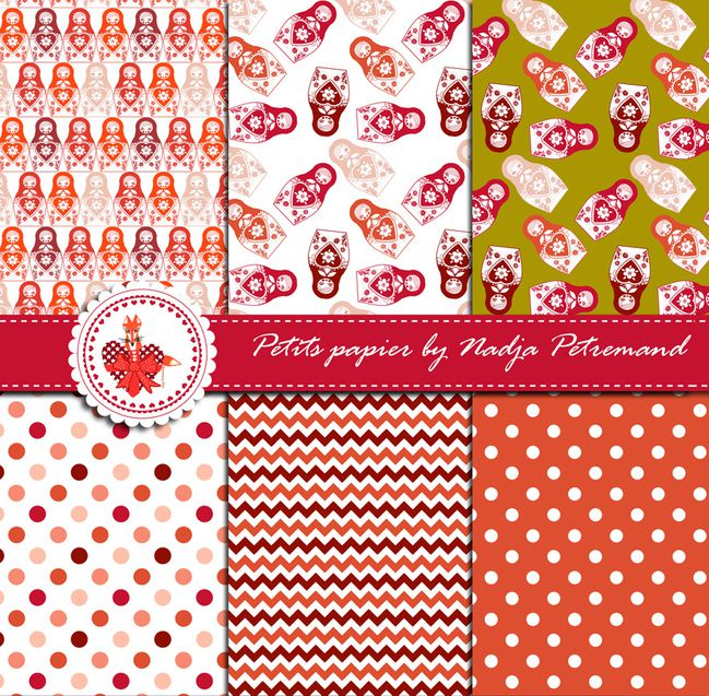 gratuit papier scrapbooking motif poupée russe rouge présentation Free printable patterned papers.jp