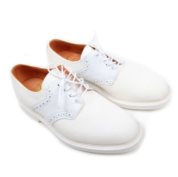 USSKB Mark McNairy White Lea Suede Saddle Shoe-4