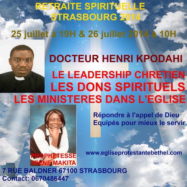 RETRAITE SPIRITUELLE STRASBOURG 2014-2