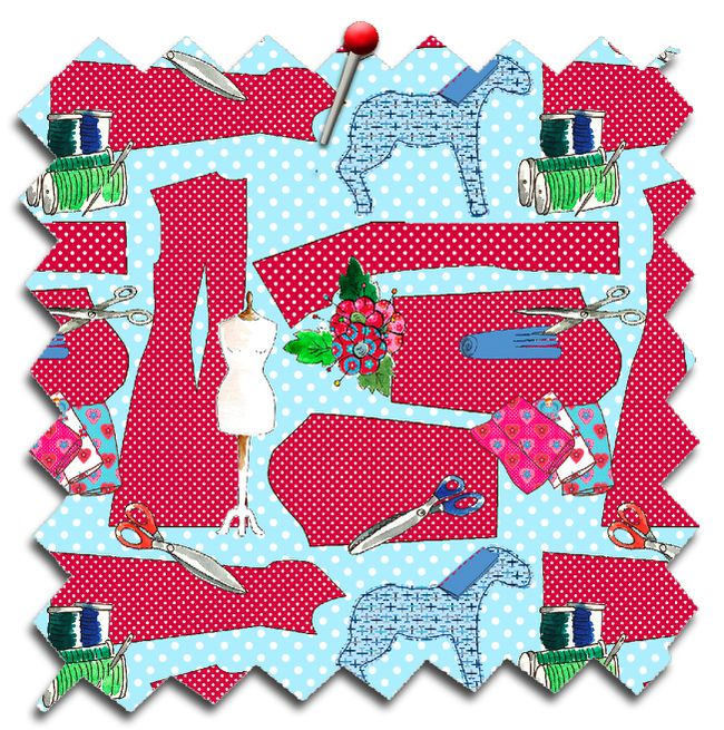 tissu echantillon couture oh couture rouge fond turquoise