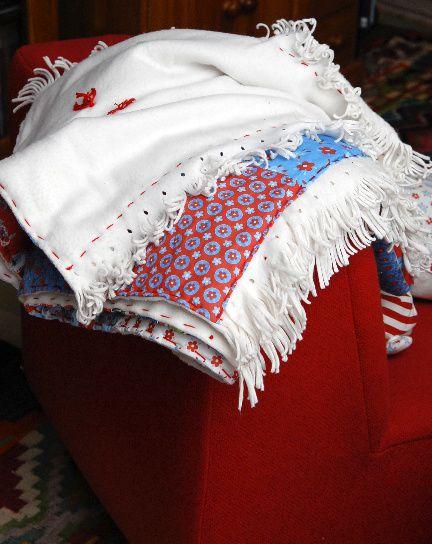 plaid en patchwork détail doublure