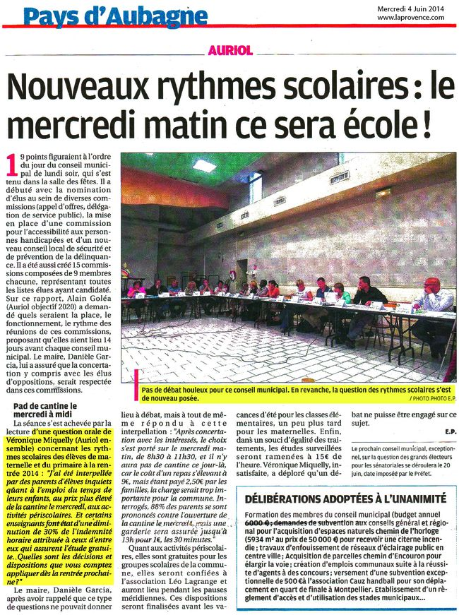 LaProvence 04-06-14 Rythmes Scolaires