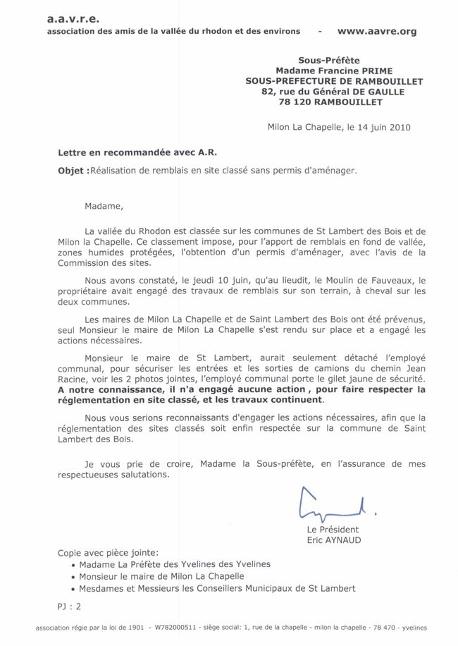 Fauveaux lettre à la SP du 14.06.2010