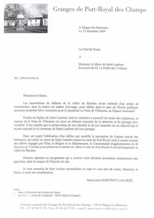 Lettre Martineau Lagarde du 13.12.2004 au Maire de St Lambe