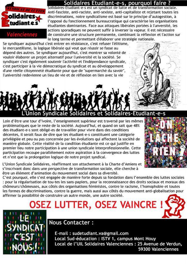 Tract Solidaires Etudiants Valenciennes