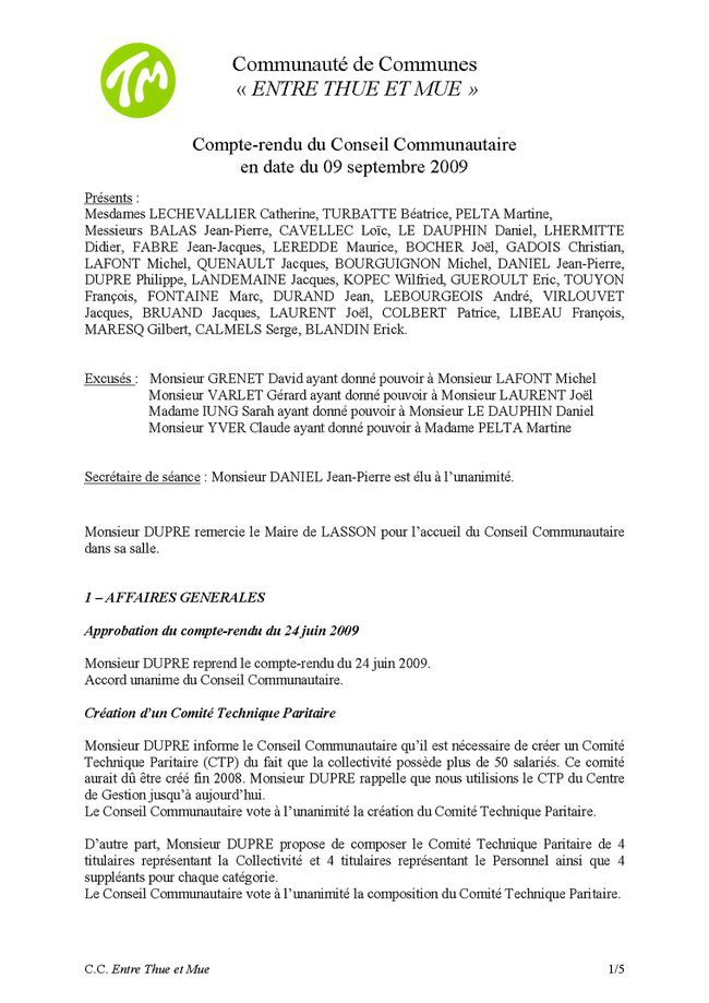 20090909 - thue et mue - conseil communautaire Page 1