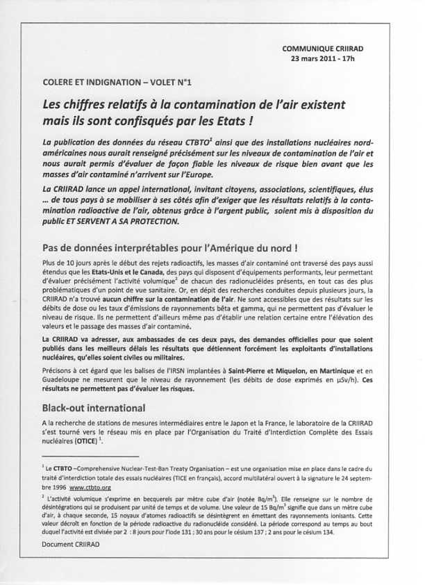 CRIIRAD - les chiffres existent Page 1