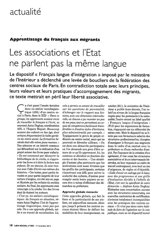 Article FLI revue Lien social 15 nov 2012 01
