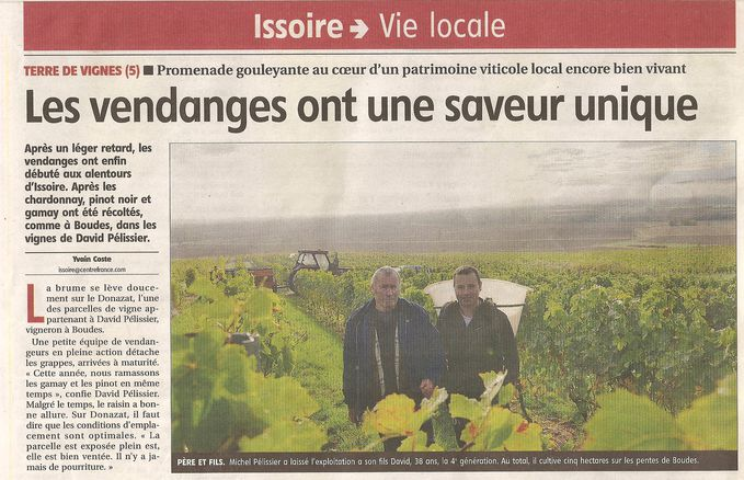 Vendanges 2013 Domaine Pélissier Article La Monta-copie-1