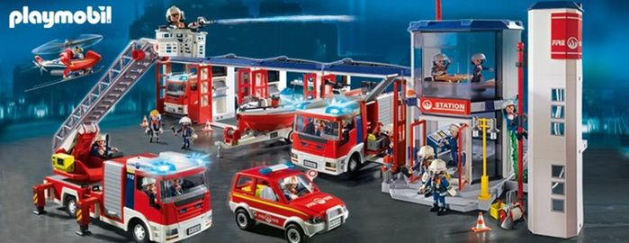 les pompiers diorama playmobil. Black Bedroom Furniture Sets. Home Design Ideas