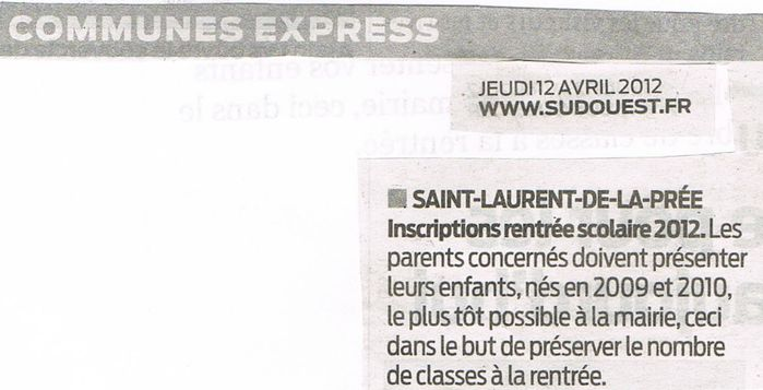 art.SO du 12 avril 2012. Inscriptions sco