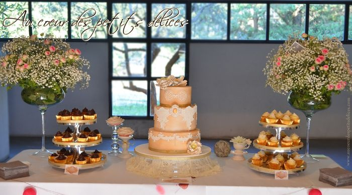 Mariage bohème chic wedding cake cupcakes sweet table bohe