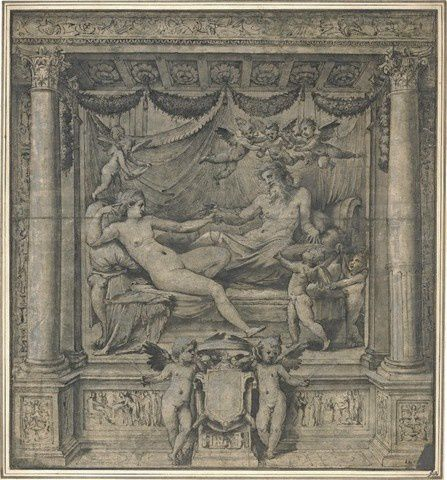 Perino del Vaga The Marriage Bed of Jupiter and Juno, drawi