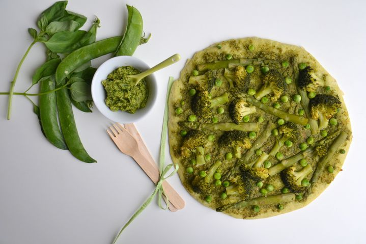 pizza verte pesto de roquette l gumes verts p te au basilic les recettes de juliette. Black Bedroom Furniture Sets. Home Design Ideas