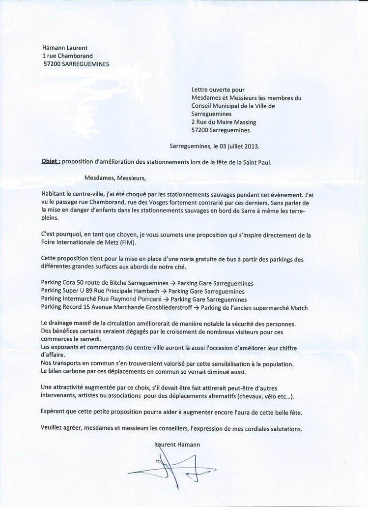 lettre laurent hamman st paul transport