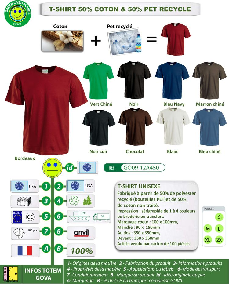 T Shirt unisexe PET recycle GOVA GO09 12A450