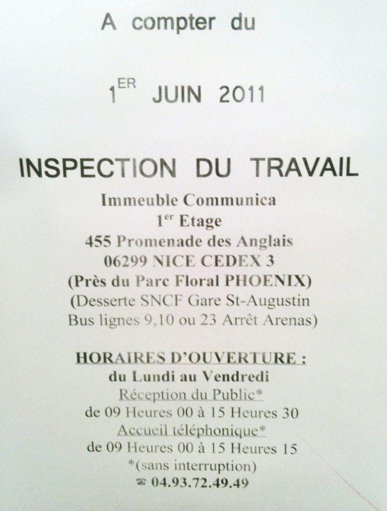Inspection Du Travail En Anglais